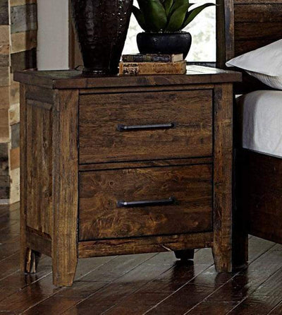 2 Drawer Wooden Nightstand With Metal Handle, Brown