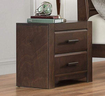 Wooden Night Stand With 2 Drawers, Dark Espresso Brown