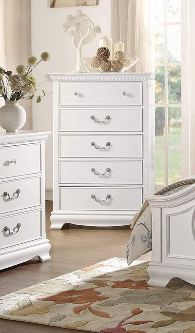 Traditional Style Wooden Chest With 5 Drawers, White - 2039W-9