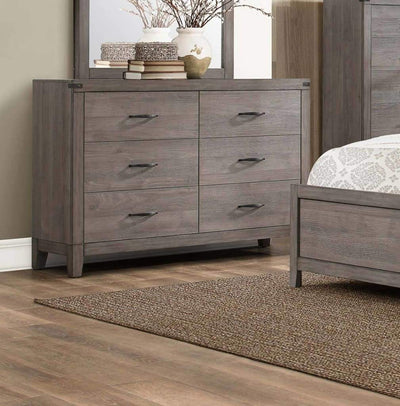 6 Drawer Wooden Dresser With Block Feet, Weathered Gray