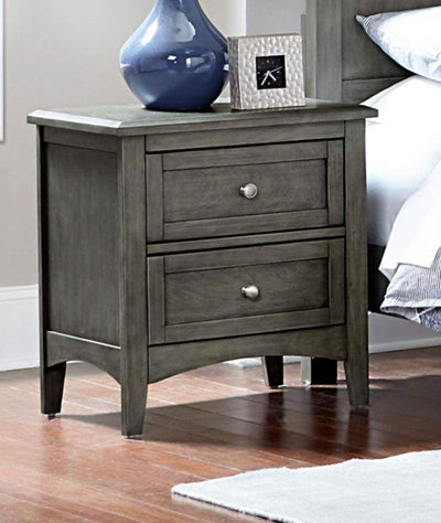 2 Drawers Wooden Night Stand with Flared Legs Gray