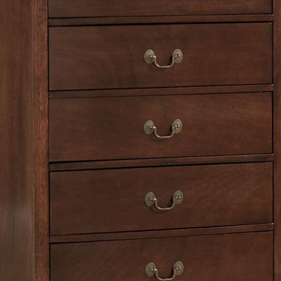 5 Drawer Wooden Chest With Metal Hardware Cherry Brown HME-2147-9
