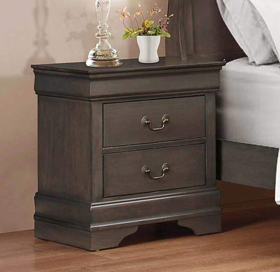Wooden Solid Grey Night stand, Stained Gray