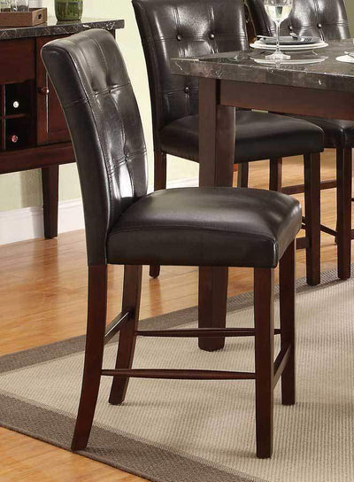 Leatherette Upholstered Wooden Counter Height Chair, Dark Cherry Brown, Set of 2