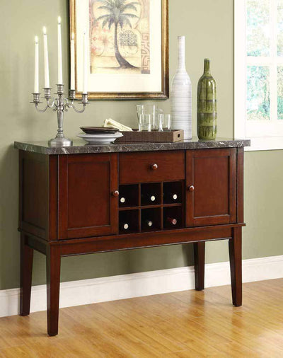 Solid Wooden Marble Top Server With Storage And Wine Rack, Cherry Brown