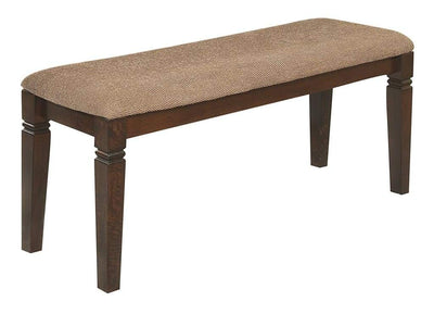 Fabric Upholstered Solid Wooden Bench, Light & Dark Brown