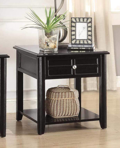 Solid Wooden End Table With Functional Drawer And Open Bottom Shelf, Espresso Brown