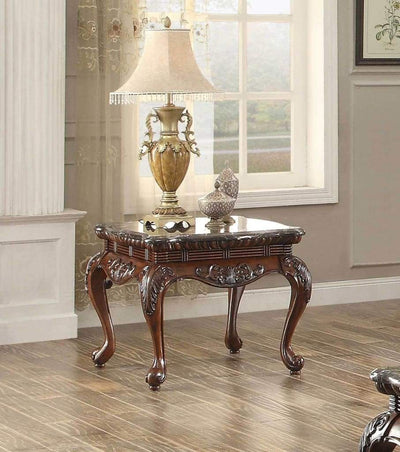 Traditional Style Engraved End Table With Marble Top, Dark Cherry Brown