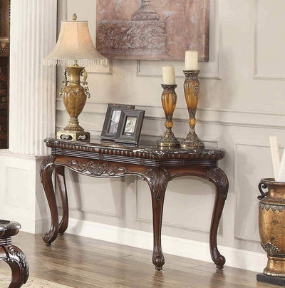 Traditional Style Engraved Sofa Table With Marble Top, Dark Cherry Brown