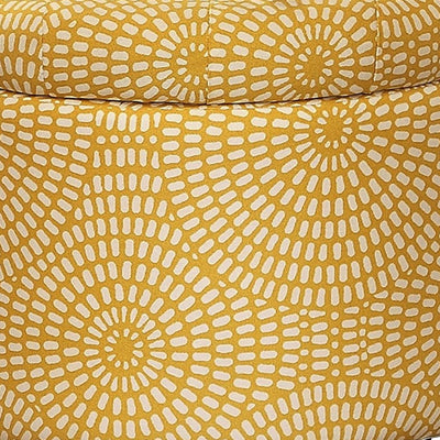 Wooden Round Storage Ottoman Upholstered Button Tufted Yellow & Brown HME-4500-F3