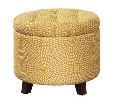 Wooden Round Storage Ottoman Upholstered Button Tufted, Yellow & Brown