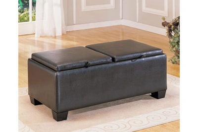 Leatherette Upholstered Storage Wooden Cocktail Ottoman With 2 Fliptops, Black