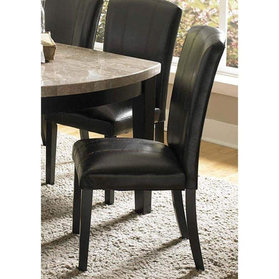 Wooden Side Chair With Padded Leatherette Seat And Back, Black, Set of 2