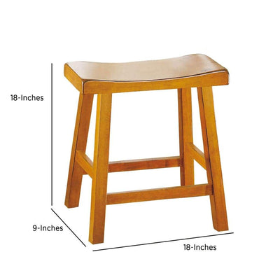 Wooden 18 Counter Height Stool with Saddle Seat Oak Brown Set Of 2 HME-5302A-18