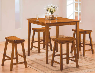 Wooden 5-Piece Counter Height Dining Set of Table & Stool, Oak Brown