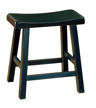 "Wooden 18"" Counter Height Stool with Saddle Seat, Black, Set Of 2"