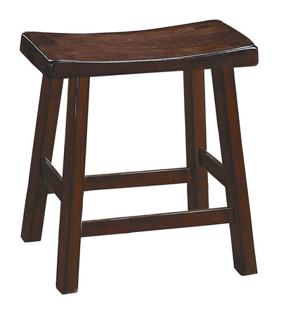 "Wooden 18"" Counter Height Stool with Saddle Seat, Warm Cherry Brown, Set Of 2"