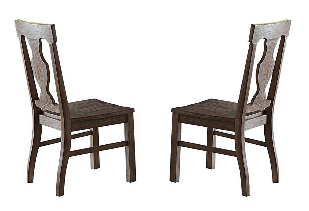 Wooden Dining Side Chairs with Fiddle Back, Brown, Set Of 2