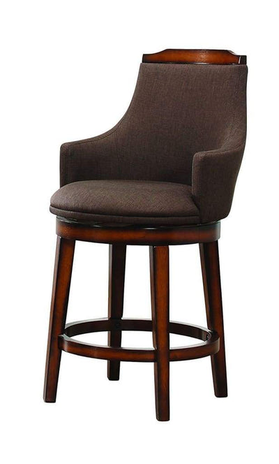 Wood & Fabric Counter Height Chair with Swivel Mechanism Brown Set of 2 HME-5447-24FAS