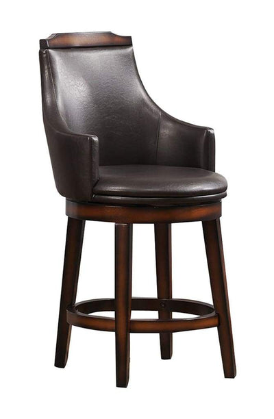 Wood & Leather Counter Height Chair with Swivel Mechanism Brown & Black Set of 2 HME-5447-24S