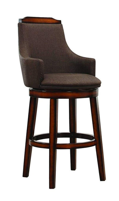 Wood & Fabric Bar Height Chair with Swivel Mechanism Oak Brown Set of 2 HME-5447-29FAS