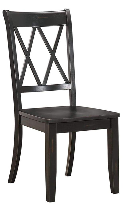 Pine Veneer Side Chair With Double X-Cross Back, Black, Set of 2