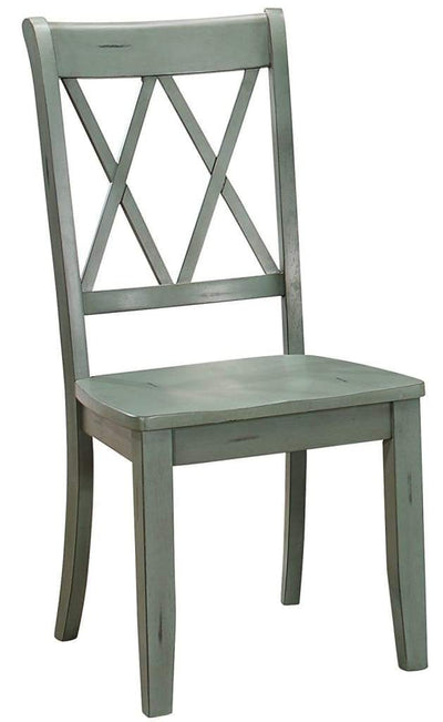 Pine Veneer Side Chair With Double X-Cross Back, Teal Blue, Set of 2