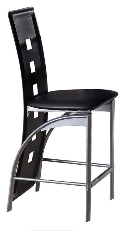 Metal & Bi-Cast Vinyl Counter Height Chair With Cut-Out Back Set of 2 Black HME-5532-24