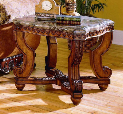 Wooden End Table With Marble Tabletop, Brown