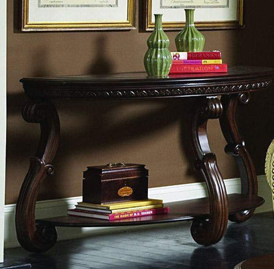 Wood Sofa Table With an Open Shelf, Cherry Brown