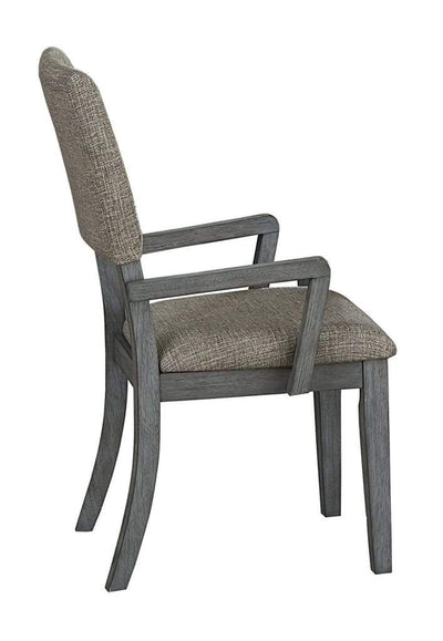 Wood Arm Chair With Covered Seat and Back, Set of 2, Gray