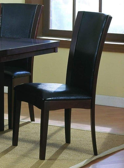 Leather Upholstered Side Chair In Dark Brown, Set Of 2