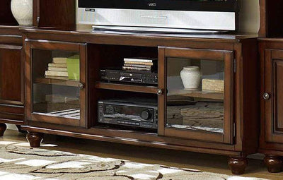 Wood And Glass TV Stand with Open Shelves, Brown