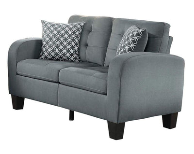 Contemporary Wood Love Seat With Tufted Upholstery Sand Gray Finish HME-8202GRY-2
