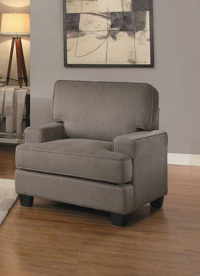 Fabric Upholstered Wooden Transitional Chair With Block Feet, Brown