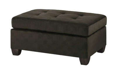 Polyester Upholstered Ottoman With Tufted Seat, Chocolate Brown