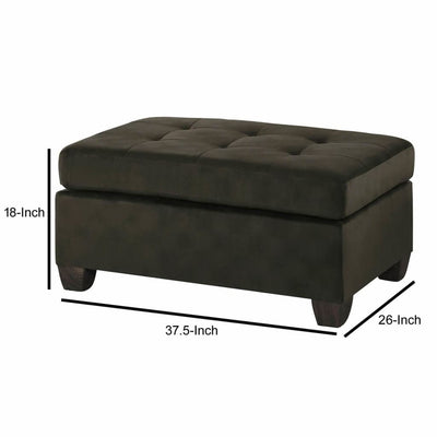 Polyester Upholstered Ottoman With Tufted Seat Chocolate Brown HME-8367CH-4