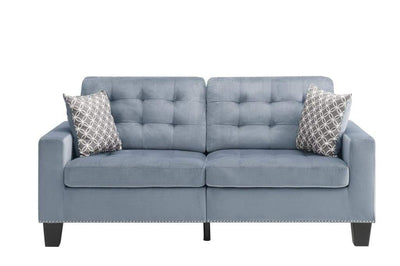 Tufted Fabric Upholstered Sofa With Two Pillows, Gray