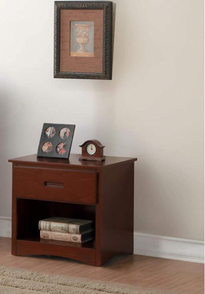 Wooden Mid-Century Nightstand With One Drawer In Coffee Brown