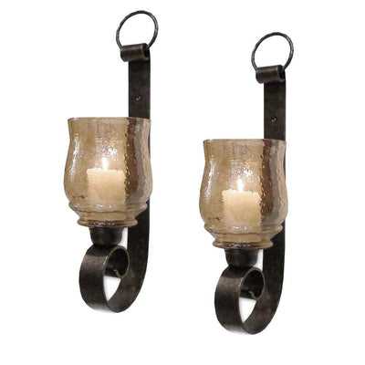 Scroll Design Metal Frame Vertical Wall Mounted Candle Holder Sconce,Set of 2 Bronze By Casagear Home I457-AMC0025