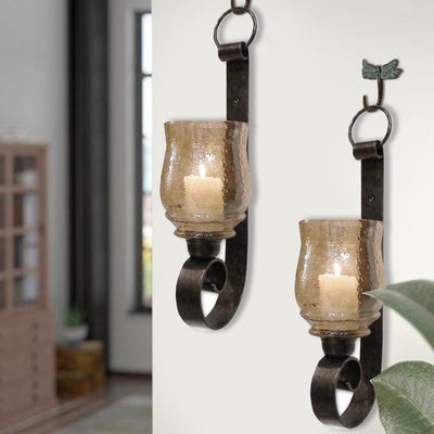 Scroll Design Metal Frame Vertical Wall Mounted Candle Holder Sconce,Set of 2, Bronze By Casagear Home
