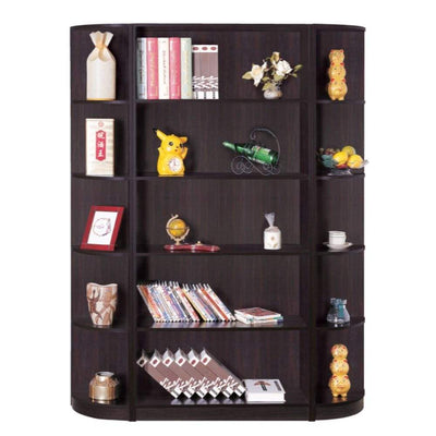 Capacious Corner Bookcase With 5 Open Shelves By Benzara IDF-111-5C