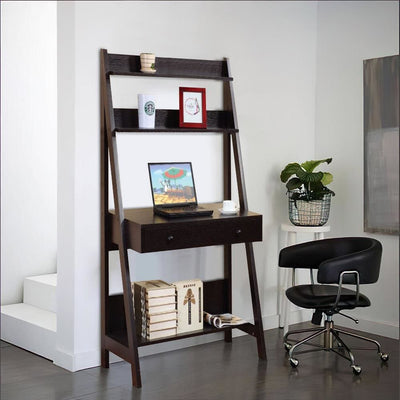Contemporary Style Ladder Home Office Desk With 3 Open Shelves and 1 Drawer, Brown By Casagear Home