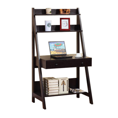 Contemporary Style Ladder Home Office Desk With 3 Open Shelves and 1 Drawer Brown By Casagear Home IDF-12573
