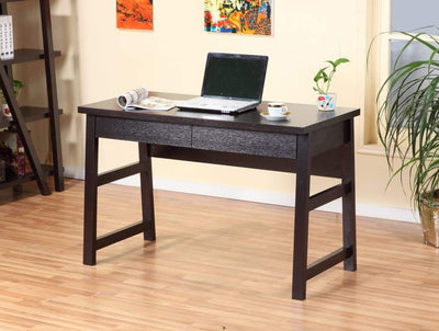 Wooden Desk With Two Drawers, Red Cocoa Brown