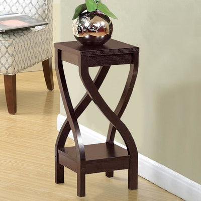 Square Top Wooden Plant Stand with Curved Legs and Shelves, Small, Dark Brown