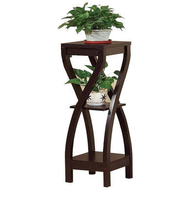 Square Top Wooden Plant Stand with Curved Legs and Shelves Large Dark Brown By Casagear Home IDF-14852