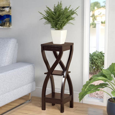 Square Top Wooden Plant Stand with Curved Legs and Shelves, Large, Dark Brown By Casagear Home
