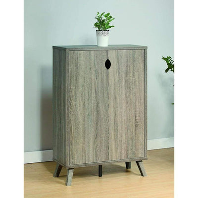 Roomy Shoe Cabinet With Flared Legs, Dark Taupe Finish