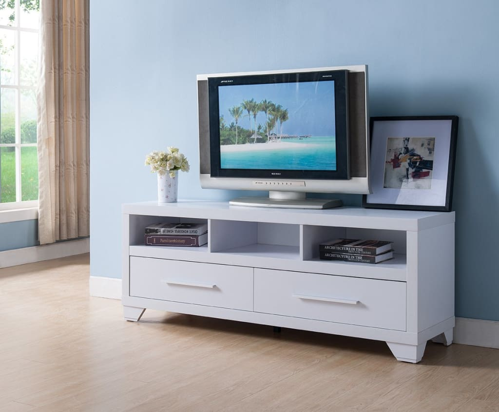 Wooden TV Stand With 2 Drawers & 3 Open Shelves, White